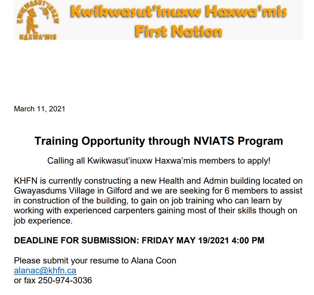 NVIATS Training Opportunity with Kwikwasutin'uxw Haxwa'mis